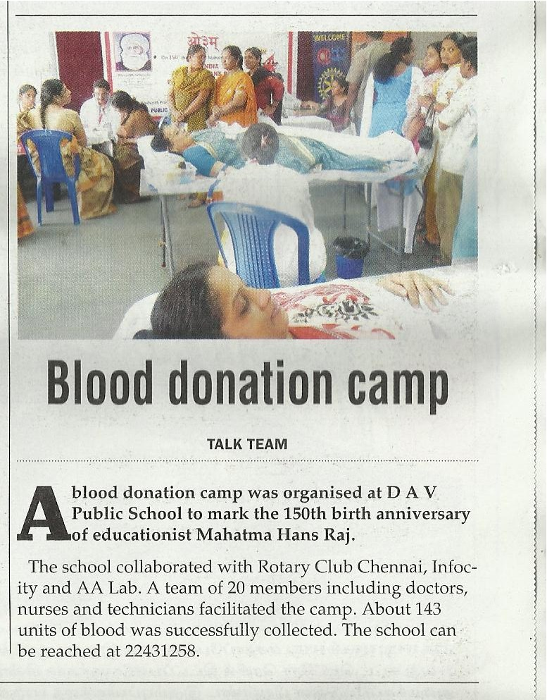 blood donation camp in school Blood banks are those institutions where a healthy and fit donor donates his blood for any needy person who will contact the blood bank the recipient is not necessarily known to the donor at many times a family member too donates blood for the patient if found fit.